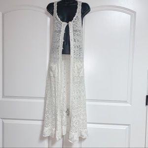 White Crochet Long Maxi V Neck Button Vest S
